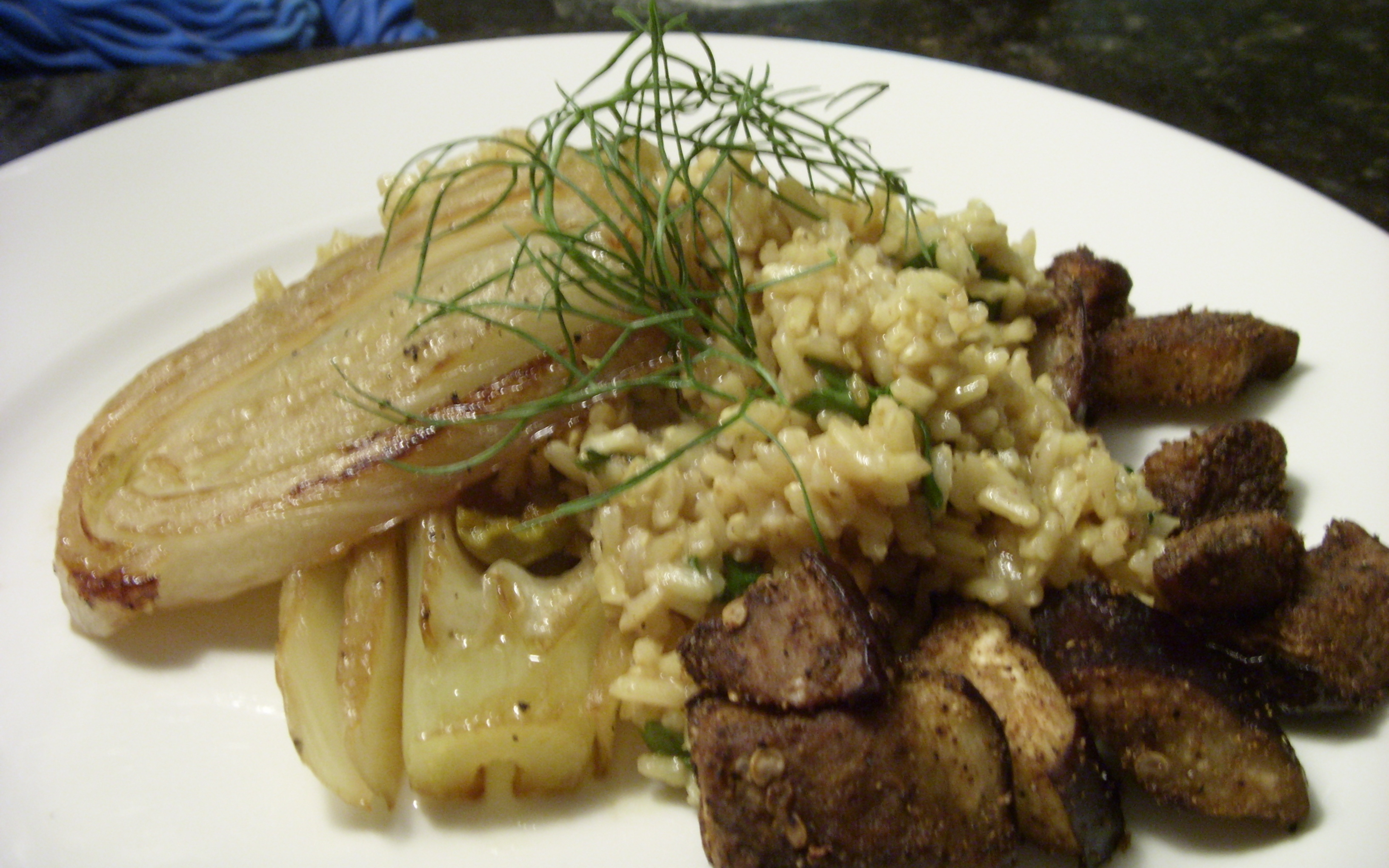 Fried Brown Rice with Braised Fennel and Roasted Eggplant