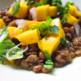 Lentils with fresh Mango sauce