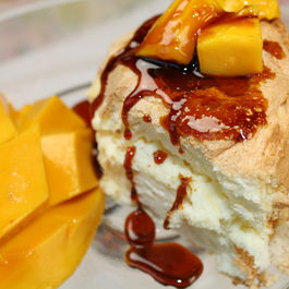 Mango Caramel Angel Food Cake