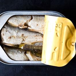 Sardines, Hummus, Toast