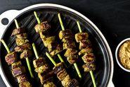 Garlic Scape Beef Satay with Garlic Scape Satay Dip