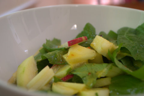 Radish & apple salad with an orange butternut oil dressing.