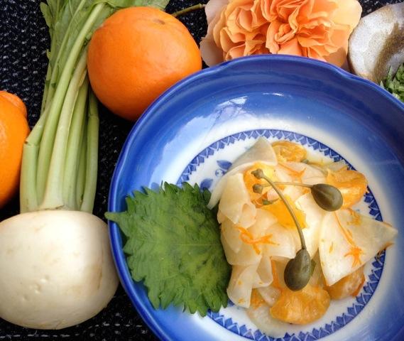 Raw Turnip Tangelo Toss