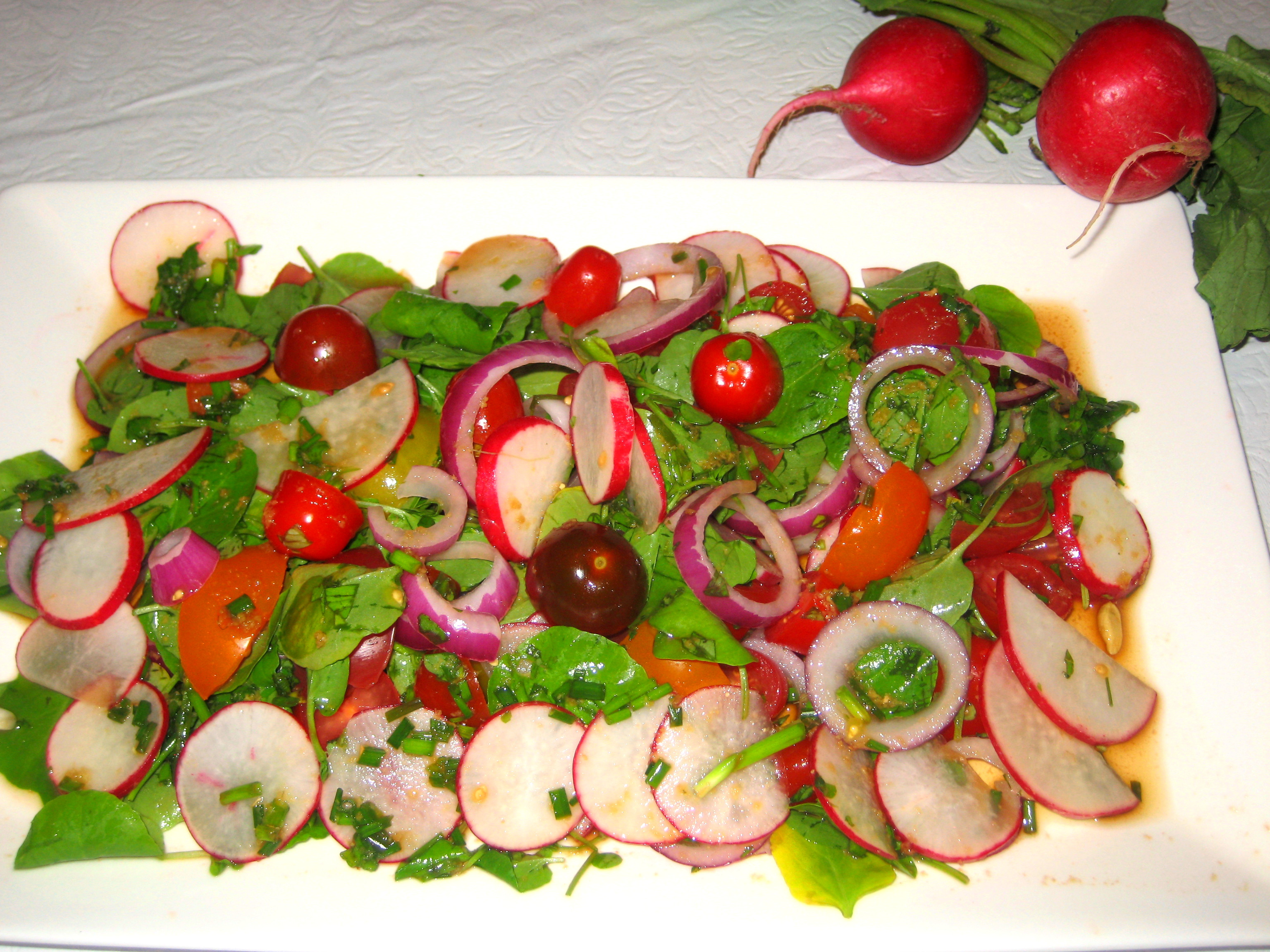 Refreshing Radish, Watercress, Tomato Salad with Lime-Soy-Ginger Dressing