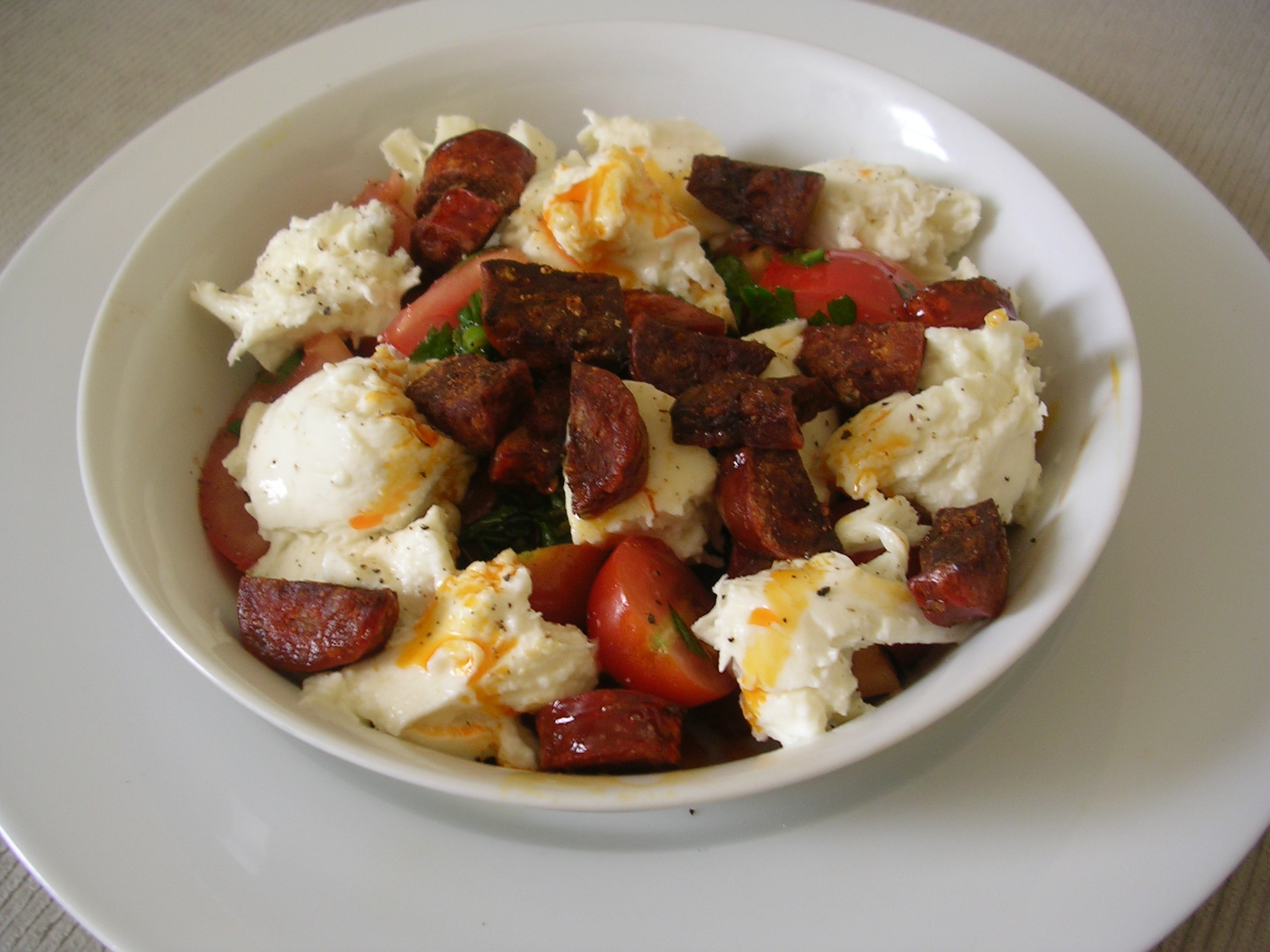 Tomato and Mozzarella Salad with Chorizo