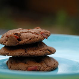 Chewy chocolate caramel bacon cookies