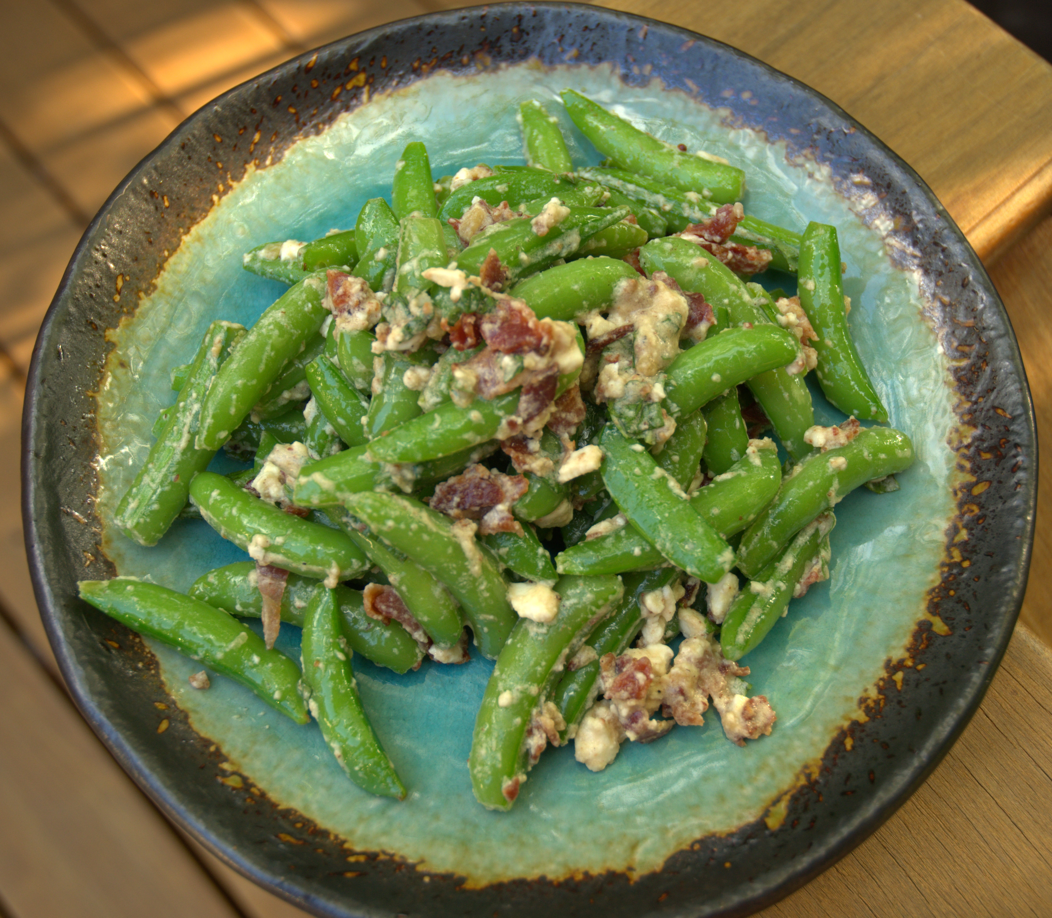 Sugar Snaps with Bacon, Maple, Feta and Mint