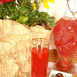 infused rhubarb and strawberries