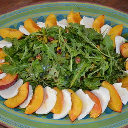 Arugula Salad with Roasted Peaches, Pistachios and Mozzarella