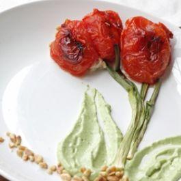 Oven Roasted Tomato Tulips with Tuna Salad and Avocado Puree