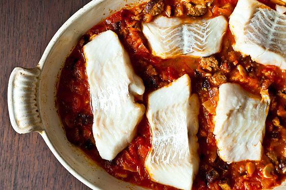 Roasted cod with linguica