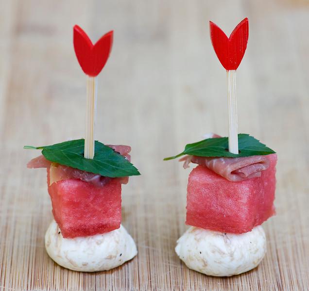 Watermelon Mint Cheese Bites