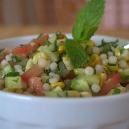 Minty  Fregola & grilled corn salad