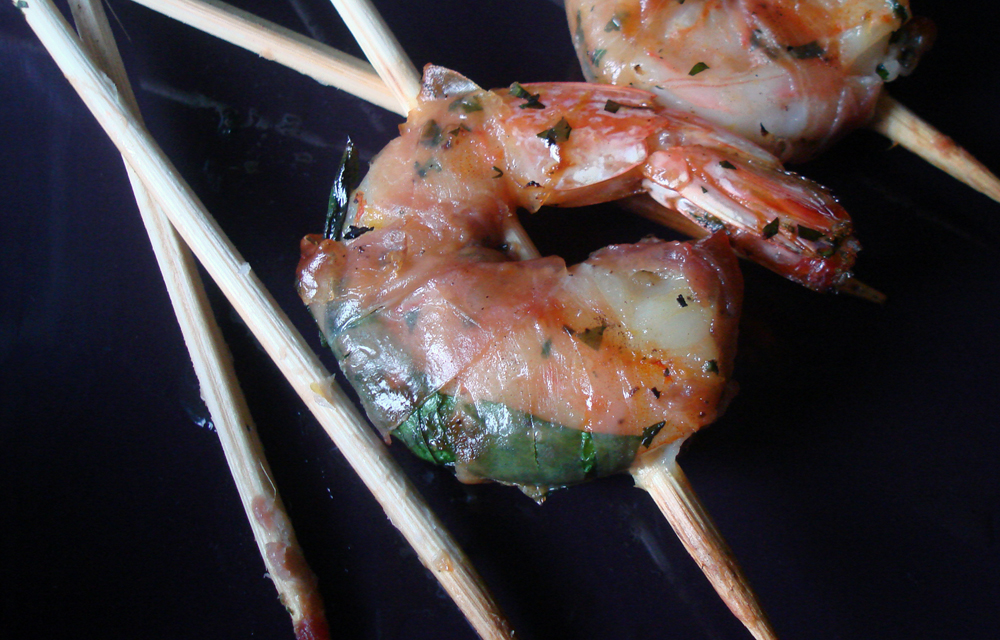 Mint & Prosciutto Grilled Shrimp