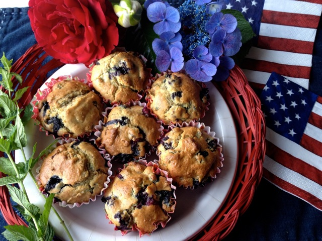 Red, White, & Blue-berry MINT Muffins