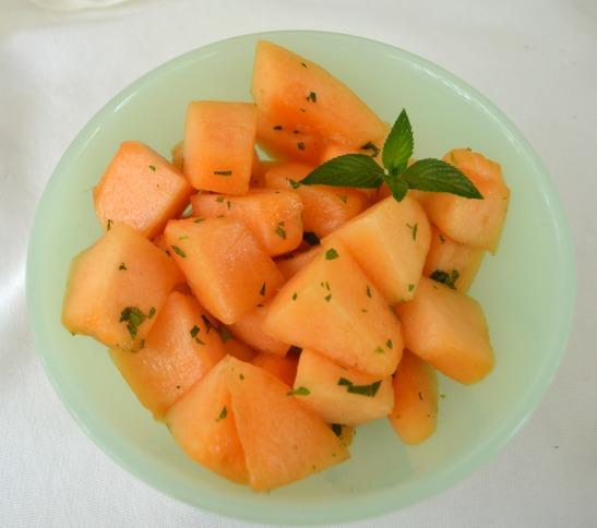 Cantaloupe with honey, mint & lime