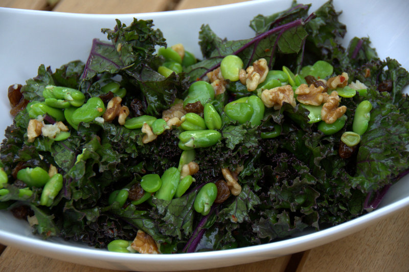 Kale, Fava, Sultana and Walnut Salad