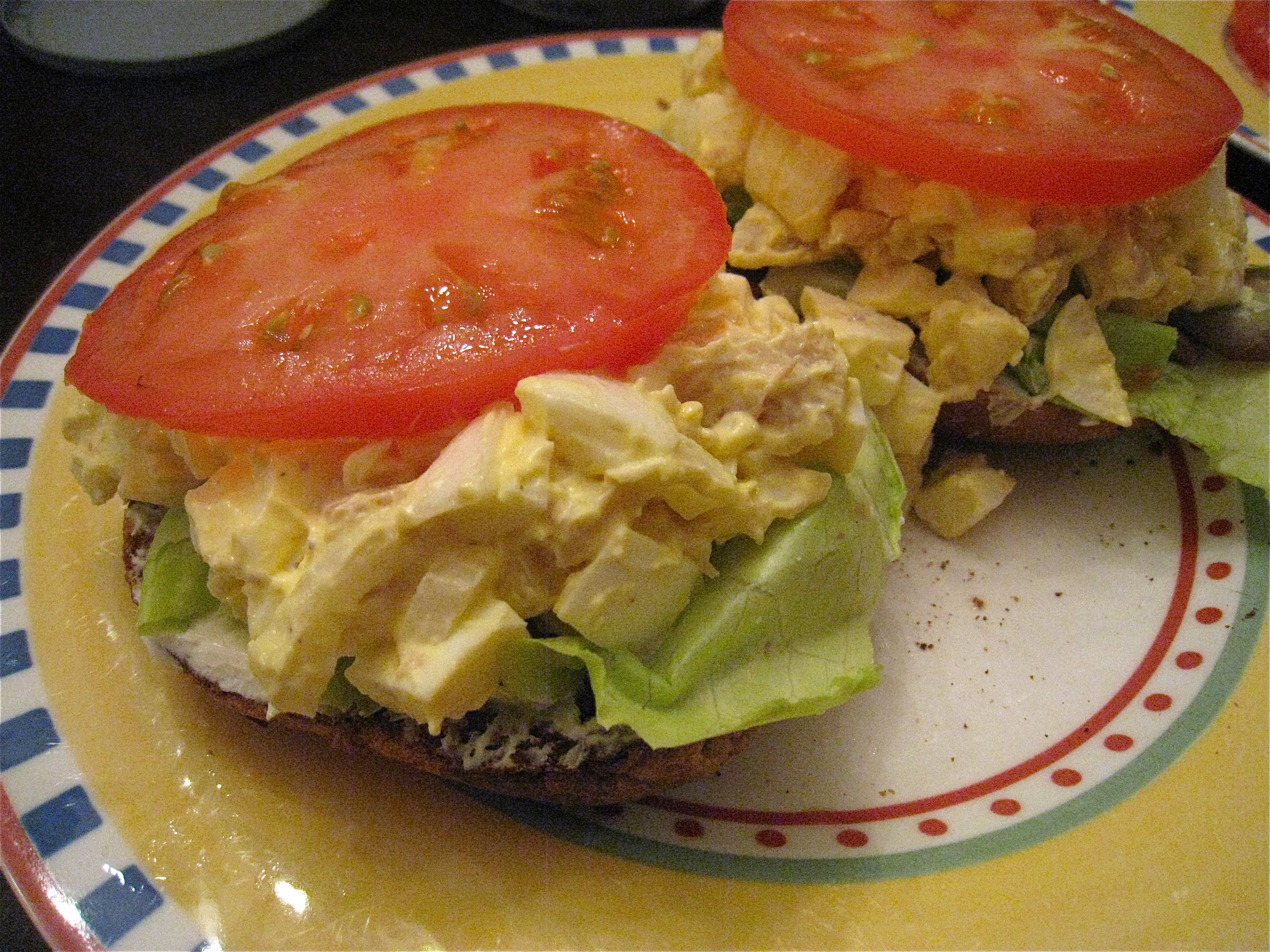 Smoked Trout, Egg, and Onion Salad on a Toasty Bagel