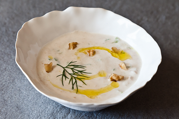 Yogurt Soup with Cucumbers and Walnuts