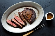 Cowboy Rubbed Rib Eye with Chocolate Stout Pan Sauce