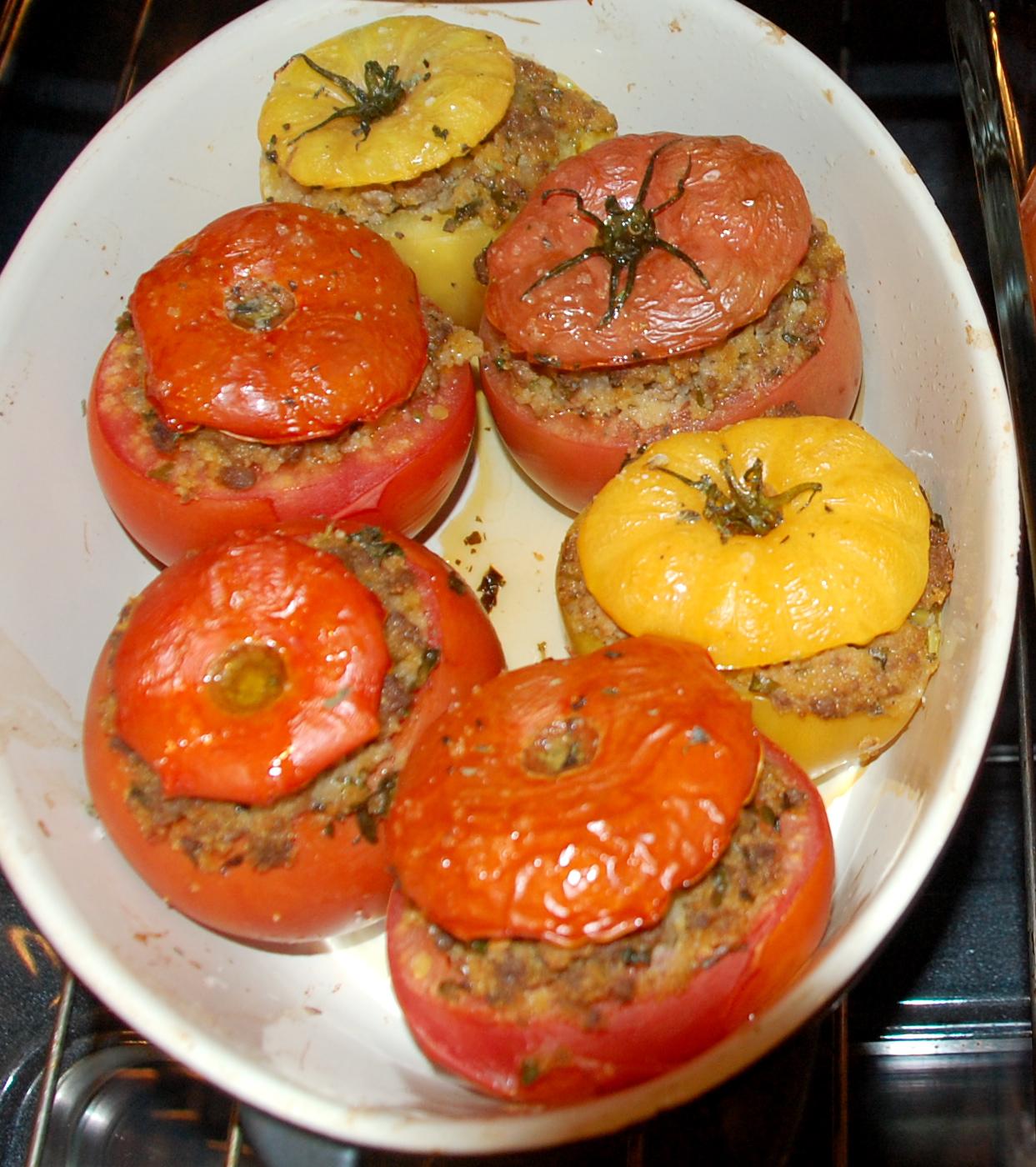 tomates farcies:  vegetarian & beef stuffed tomatoes, bonus QUINOA salad