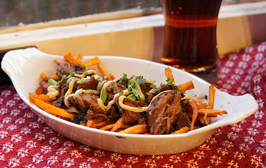 Smokey Tea Pork with Sweet Potatoes and Shiitake Mayo