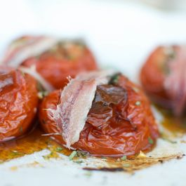 Slow Roasted Tomatoes with Filet of Anchovy