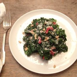 Kale Salad with a garlic - caper vinaigrette