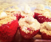 """Cheesecake Stuffed Strawberries"""