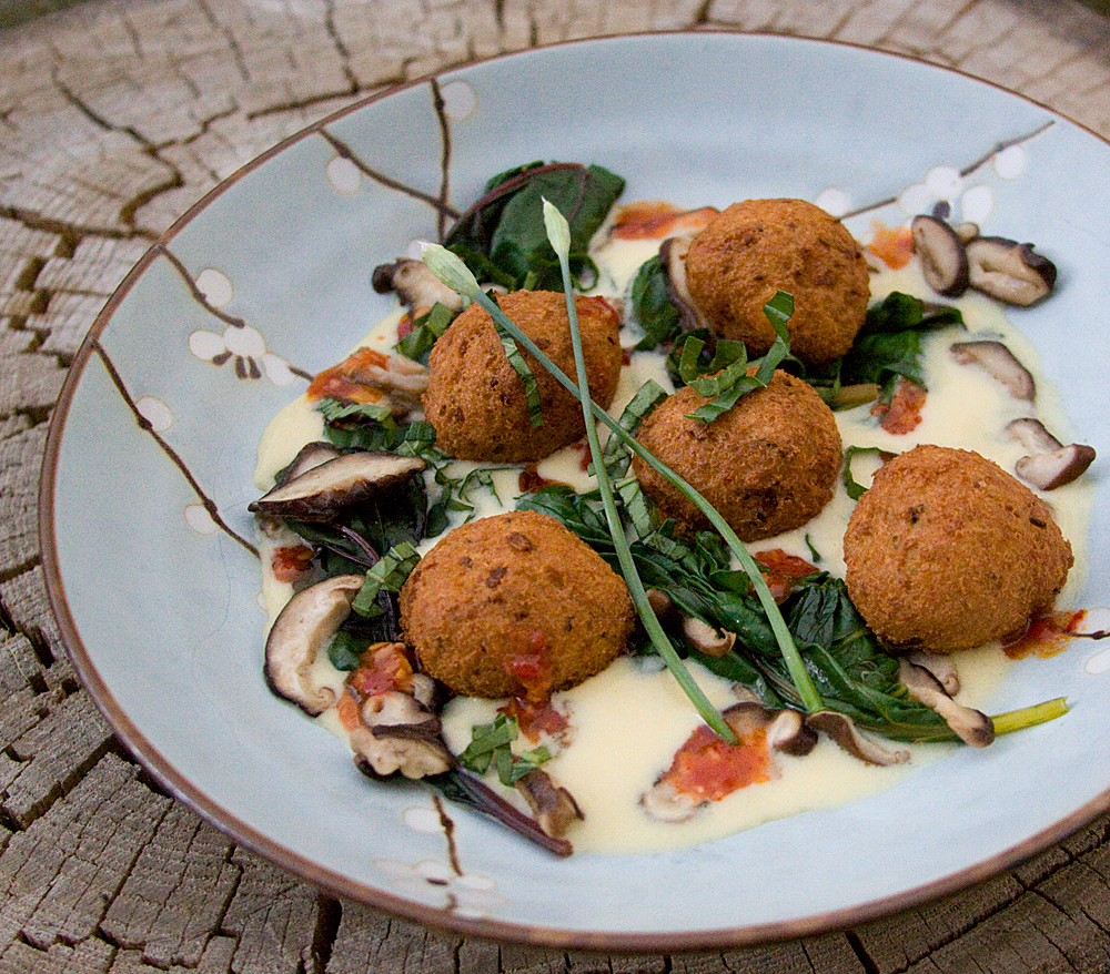 Tofu Fritters with Coconut Corn Broth