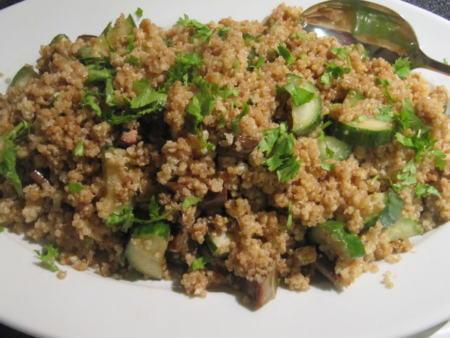 Miso Quinoa Pilaf with Grilled Cucumber, Eggplant, and Soy Dressing