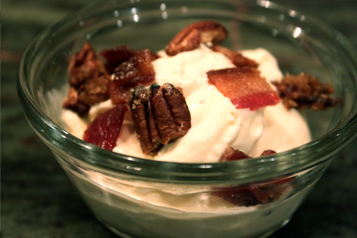smoked cream ice cream + candied bacon + pecans