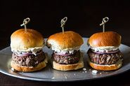 Lamb Sliders with Feta Cheese, Red Onions, and Cumin Mayonnaise