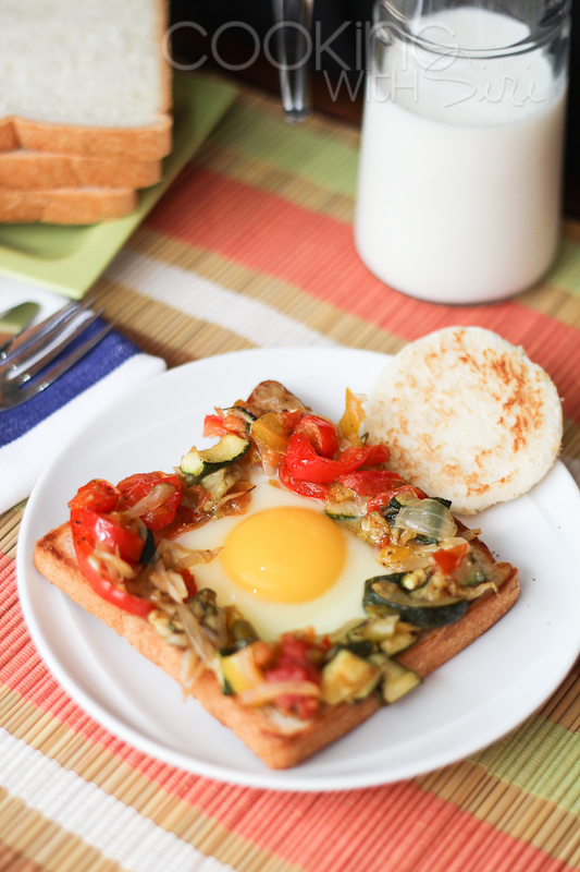 Egg in hole with Roasted vegetables