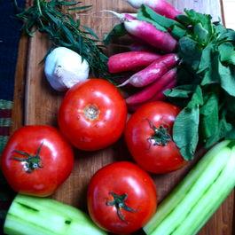 Radish, Tarragon, and Roasted Garlic Gazpacho