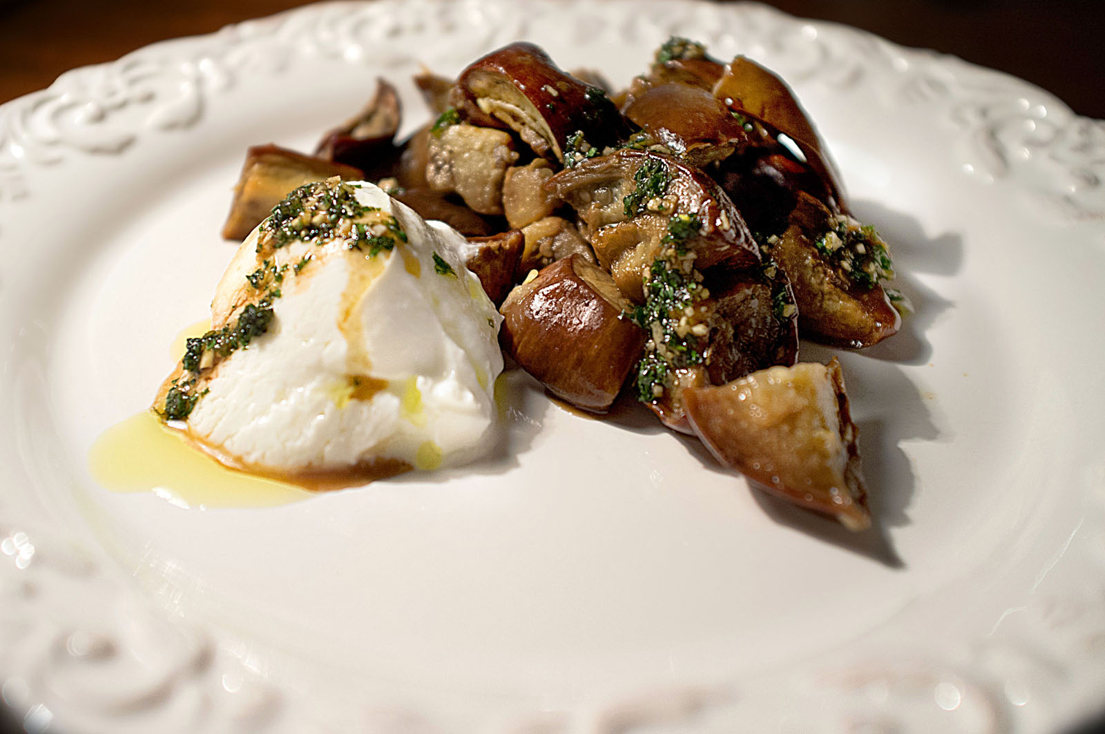 Eggplant Dice with Yogurt and Honey Mint Sauce
