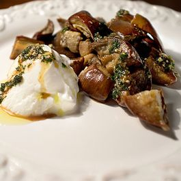 Eggplant Dice with Yogurt and Honey Mint Sauce