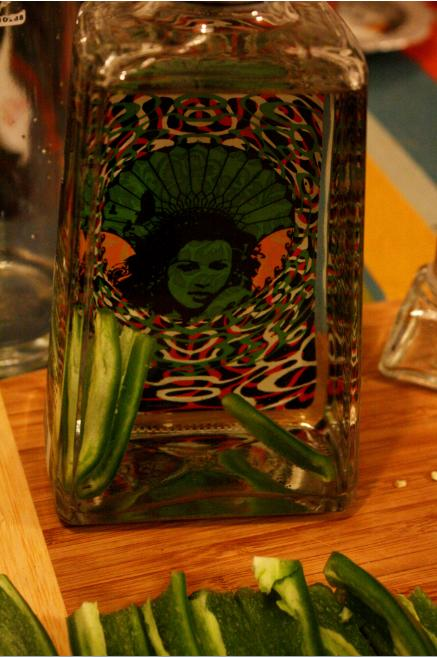 Jalapeno-infused tequila.