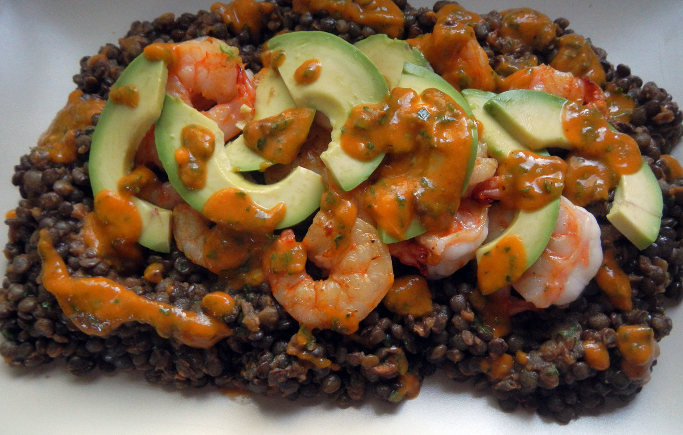 Shrimp with French Lentils and Roasted Tomato Vinaigrette
