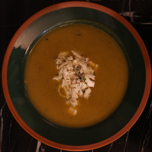Cream of butternut squash soup with crab