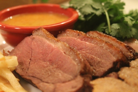 Pan Seared Duck Breast with Red Curry Dipping Sauce