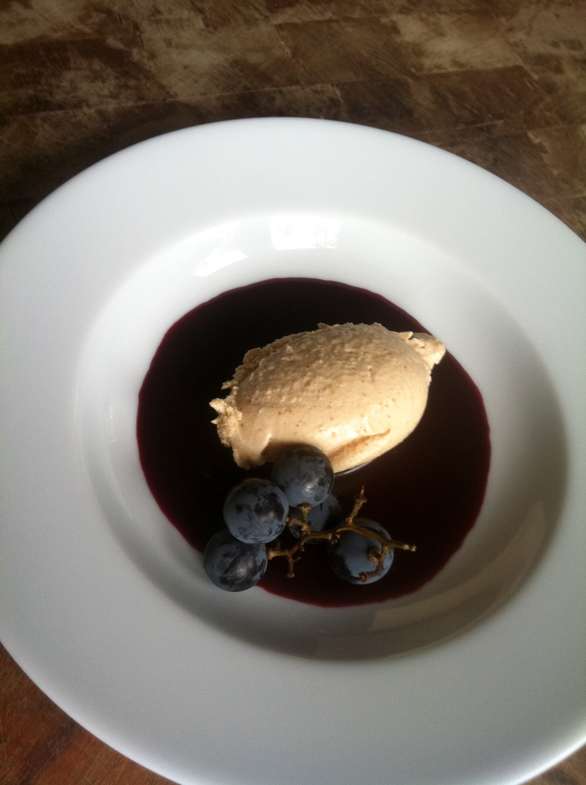 Peanut Butter Ice Cream with Concord Grape Coulis