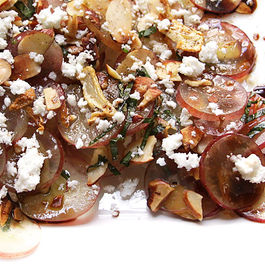 Grape Salad with Toasted Garlic, Basil and Feta