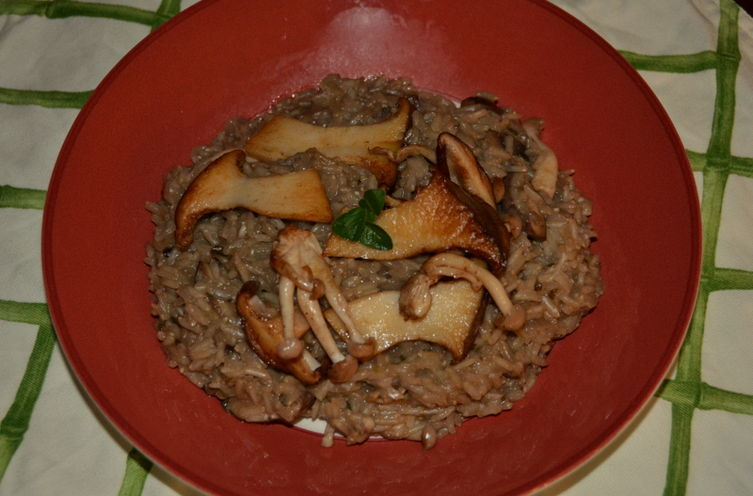Mushroom, Goat Cheese and Brown Rice Risotto