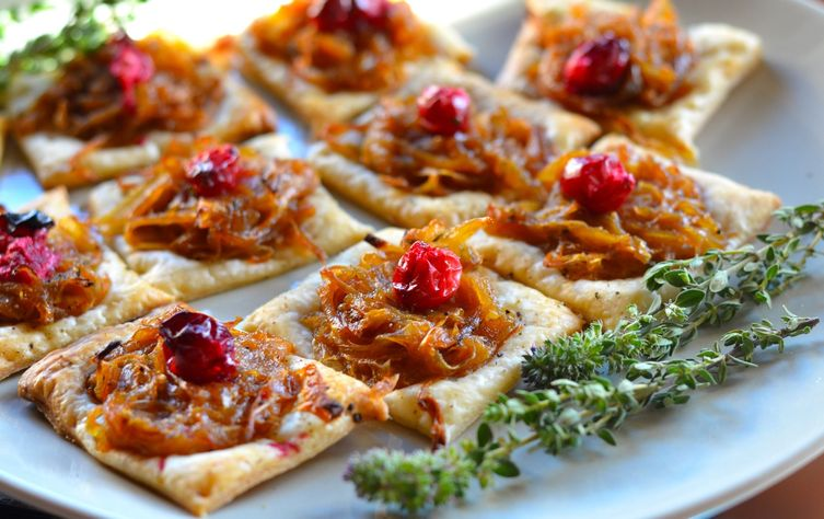 Caramelized Onion and Cranberry Puff Pastry Bites