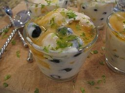 Mangoes and Blueberries in Yogurt Cream