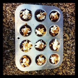 brownie bites with goat cheese