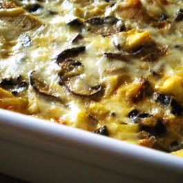 Caramelized Onion and Mushroom Pudding (with Bakon?!?!)
