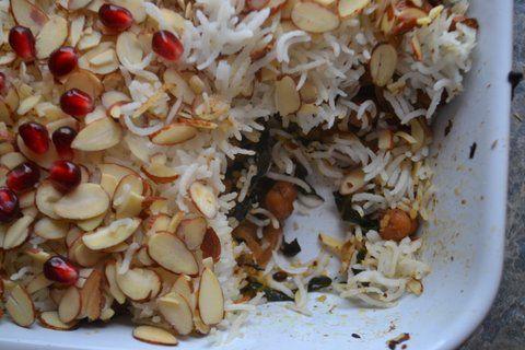 Kale Biryani with Garbanzo & Pomegranate (Crowd sourced)