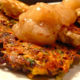 Root Vegetable Latkes with Apple Pear Mash